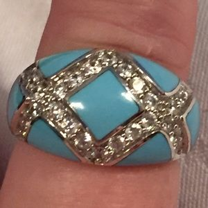 Jewelry - Turquoise Enamel and CZ Silver Ring